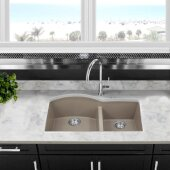 Plymouth Collection 60/40 Double Bowl Undermount Granite Composite Kitchen Sink in Truffle, 33'' W x 20-1/2'' D x 9-7/8'' H