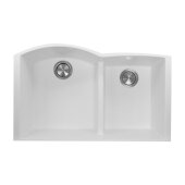 Plymouth Collection 60/40 Double Bowl Undermount Granite Composite Kitchen Sink in White, 33'' W x 20-1/2'' D x 9-7/8'' H