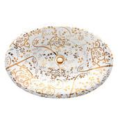 Regatta Collection St. John Italian Fireclay Vanity Bathroom Sink in Glazed White/Gold, 25'' Diameter x 17-1/4'' D x 8'' H