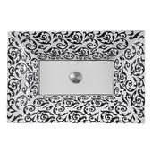 Regatta Collection La Maddalena Italian Fireclay Vanity Bathroom Sink in Glazed White/Black/Platinum, 24-1/4'' W x 16-1/2'' D x 5-1/2'' H