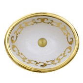 Regatta Collection Sanremo Italian Fireclay Vanity Bathroom Sink in Glazed White/Gold, 19-1/2'' Diameter x 16'' D x 8'' H