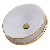 Regatta Collection St. Bart Fireclay Hand-Decorated Vanity Bathroom Sink in Glazed White/Gold, 19'' Diameter x 6-3/4'' H