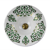 Regatta Collection Lugano Fireclay Hand-Decorated Vanity Bathroom Sink in Glazed White/Green/Gold, 17-3/4'' Diameter x 6-3/8'' H