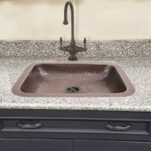 Brightwork Home Collection Hammered Copper Rectangle Bar Sink with Victorian Bronze Drain in Light Antique Copper , 17'' W x 14'' D x 5'' H
