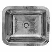 Brightwork Home Collection Single Bowl Hammered Stainless Steel Rectangle Bar Sink, 17-1/2''W x 14-5/8''D x 5-3/4''H
