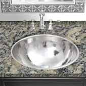 Brightwork Home Collection Hand Hammered Single Bowl Stainless Steel Round Undermount Bathroom Sink With Overflow, 16-7/8'' Diameter x 9'' H