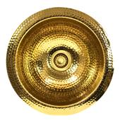 Hand Hammered Brass Round Undermount Bathroom Sink, Brass Without Overflow, 13''W x 13''D x 7''H