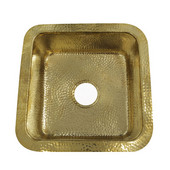 Brightwork Home Collection Hammered Brass Square Undermount Bar Sink in Polished Brass, 16-5/8''W x 16-5/8''D x 7-3/8'' H