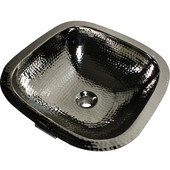 16-1/4'' Hand Hammered Brass Copper Square Undermount Bathroom Sink, Nickel Plated Finish, Has Overflow