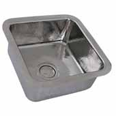 Brightwork Home Collection Hammered Square Single Bowl Undermount Bar Sink in Polished Stainless Steel, 16-1/2''W x 16-1/2''D x 7-3/8''H