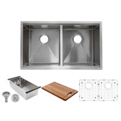 Brushed Satin Double Equal Prep Station Small Radius Undermount Stainless Sink with Accessories, 32''W x 19''D x 10''H