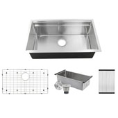 Brushed Satin Professional Prep Station Small Radius Undermount Stainless Kitchen Sink with Accessories, 32''W x 20''D x 10''H