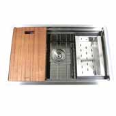 28'' Wide Pro Series Prep-Station Single Bowl Undermount Stainless Steel Kitchen Sink with Included Accessories