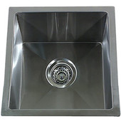 Pro Series Square Undermount Small Radius Stainless Steel Bar/Prep Sink, 15''W x 15''D x 9''H
