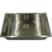 Pro Series Rectangle Single Bowl Undermount Small Radius Corners Stainless Steel Kitchen Sink , 23''W x 18''D x 10''H