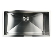 Pro Series Large Rectangle Single Bowl Undermount Small Radius Corners Stainless Steel Kitchen Sink, 32''W x 18''D x 10''H