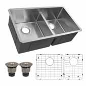 32'' Wide Pro Series 60/40 Offset Double Bowl Undermount Small Radius Kitchen Sink, Stainless Steel, 32'' W x 19'' D x 10'' H