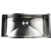 Pro Series Oversized Large Rectangle Single Bowl Undermount Small Radius Corners Stainless Steel Kitchen Sink. , 36''W x 18''D x 10''H