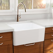 Cape Collection 27'' Farmhouse Fireclay Sink with Bottom Grid and Stainless Steel Drain in Porcelain Enamel Glaze White, 27'' W x 19'' D x 10'' H