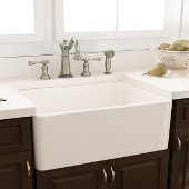 White Fireclay Farmhouse Kitchen Sink Offset Drain with Grid, 29-3/4''W x 18''D x 10''H