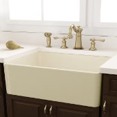 Bisque Fireclay Farmhouse Kitchen Sink Offset Drain with Grid, 29-3/4''W x 18''D x 10''H