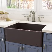 Cape Collection Single Bowl Fireclay Farmhouse Front Apron Kitchen Sink in Coffee Brown, 30-1/4''W x 18''D x 10''H