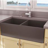 Cape Collection Double Bowl Farmhouse Fireclay Front Apron Kitchen Sink in Coffee Brown, 33-1/4''W x 18''D x 10''H