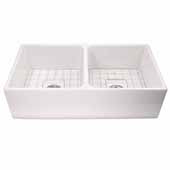 36'' Wide Double Bowl Farmhouse Fireclay Sink in White with Drains and Grids