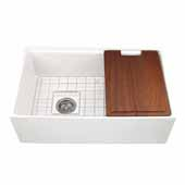 30'' Wide Reversible Workstation Farmhouse Fireclay Apron Sink in White with Offset Drain and Accessories