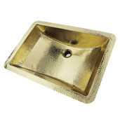 Brightwork Home Collection 21'' Hand Hammered Rectangle Undermount Bathroom Sink with Overflow in Polished Brass, 21'' W x 15'' D x 8-1/2'' H