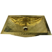 Hand Hammered Brass Rectangle Undermount Bathroom Sink with Overflow, 23-1/2''W x 15-1/2''D x 8''H