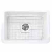 Cape Collection 27''W Dualmount Rectangular Fireclay Kitchen Sink With Bottom Grid And Drain, White Porcelain Enamel Glaze Finish