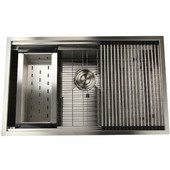 32'' Pro Series Large Rectangle Single Bowl Undermount Stainless Steel Kitchen Sink Set, 32''W x 20''D x 10''H