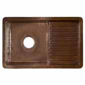 Cantina Pro Bar and Prep Sink in Antique Copper, 24''W x 15''D x 7-1/2''H