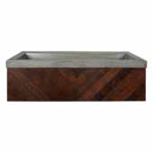 36'' Cabernet Floating Vanity with NativeStone Trough in Ash, 36''W x18-3/4''D x 14''H