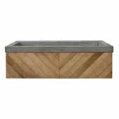 36'' Chardonnay Floating Vanity with NativeStone Trough in Ash, 36''W x18-3/4''D x 14''H