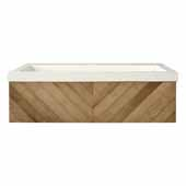 36'' Chardonnay Floating Vanity with NativeStone Trough in Pearl, 36''W x18-3/4''D x 14''H