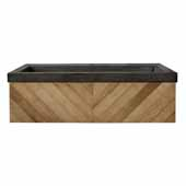 36'' Chardonnay Floating Vanity with NativeStone Trough in Earth, 36''W x18-3/4''D x 14''H