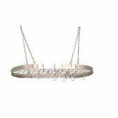 Satin Nickel Oval Hanging Kitchen Pot Rack with Grid