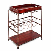 Avalon Wine/Serving Cart, Antique Copper, Rosewood Finish