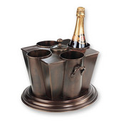 Wine Bottle Chiller with Ice Chest, 4 Bottle Capacity, 11-1/2'' W x 11-1/2'' D x 10'' H, Antique Copper