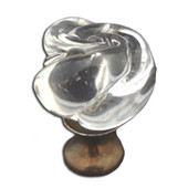 Crystal Knob Collection 1-1/4'' Diameter Traditional Rose Shaped Clear Crystal Knob with Pewter Base in Shiny Pewter, 1-1/4'' Diameter x 1-1/2'' D x 1-1/2'' H