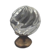 Crystal Knob Collection 1-3/16'' Diameter Traditional Clear Round Crystal Knob With Swirl Design And Pewter Base in Shiny Pewter, 1-3/16'' Diameter x 1-5/8'' D x 1-5/8'' H