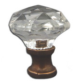 Crystal Knob Collection 1-1/16'' Diameter Traditional Clear Faceted Knob With Solid Pewter Base in Shiny Pewter, 1-1/16'' Diameter x 1-1/4'' D x 1-1/4'' H