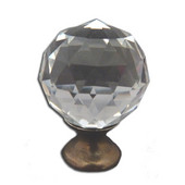 Crystal Knob Collection 1-1/4'' Diameter Traditional Clear Round Faceted Knob With Solid Pewter Base in Shiny Pewter, 1-1/4'' Diameter x 1-11/16'' D x 1-11/16'' H