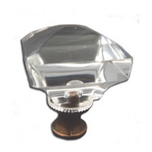 Crystal Knob Collection 1-1/8'' Diameter Traditional Faceted Square Clear Crystal Knob With Solid Pewter Base in Shiny Pewter, 1-1/8'' Diameter x 1-1/2'' D x 1-1/2'' H