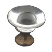 Crystal Knob Collection 1-1/4'' Diameter Traditional Clear Mushroom Shaped Crystal Knob with Solid Pewter Base in Shiny Pewter, 1-1/4'' Diameter x 1-1/4'' D x 1-1/4'' H