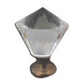 Crystal Knob Collection 1-3/16'' Diameter Traditional Clear Conical Shaped Crystal Knob with Solid Pewter Base in Shiny Pewter, 1-3/16'' Diameter x 1-11/16'' D x 1-11/16'' H