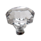 Crystal Knob Collection 1-1/4'' Diameter Traditional Clear Octagon Shaped Knob with Solid Pewter Base in Shiny Pewter, 1-1/4'' Diameter x 1-7/16'' D x 1-7/16'' H