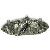 Designs Hill Collection  4-9/16'' W Pea Cup Pull in Natural Pewter,  4-9/16'' W x 1'' D x 1-13/16'' H, 3'' Center to Center